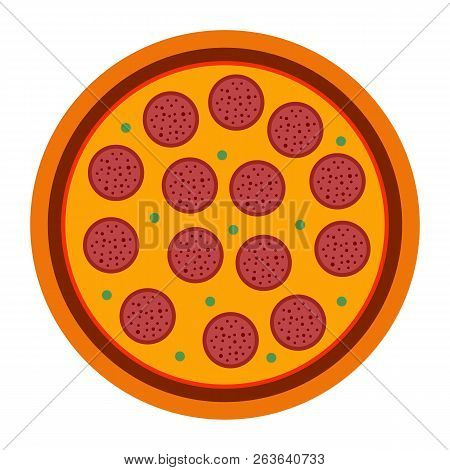 Italian Pizza Pepperoni In Flat Style. Vector Illustration Of Pizza Isolated On White Background. Se