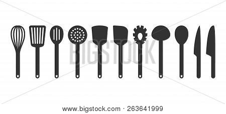 Cooking Utensil Set Of Tools. Kitchen Tools Black Isolated Vector Icons. Slotted Turner, Spoon, Kniv