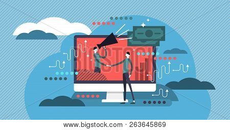 Affiliate Marketing Flat Vector Illustration. Business Commercial And Advertisement Strategy Type Us