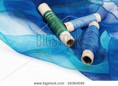 blueish silk and matching threads