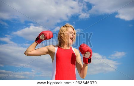 Girl Boxing Gloves Symbol Struggle For Female Rights And Liberties. Fight For Female Rights. Girls P