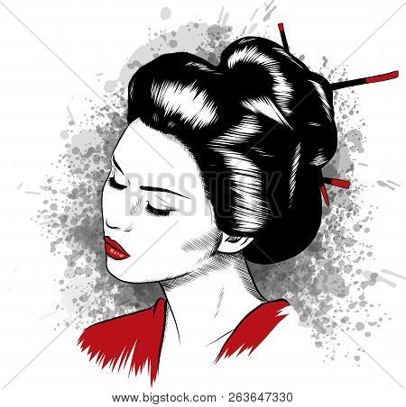 Beautiful Japanese Geisha Holds Red Fan Vector Illustration.