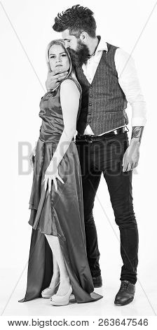 Romance Concept. Couple In Love, Passionate Lovers In Elegant Clothes, White Background. Woman In Re