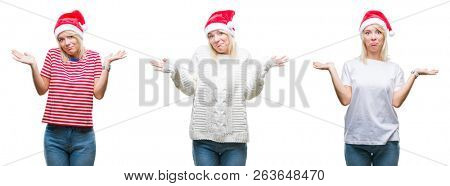 Collage of beautiful blonde woman wearing christmas hat over isolated background clueless and confused expression with arms and hands raised. Doubt concept.