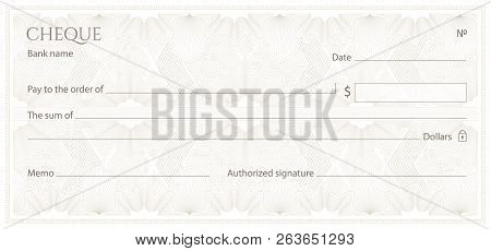 Check, Cheque (Chequebook template). Guilloche pattern with abstract floral watermark, border. Floral Background for banknote, money design, currency,bank note, Voucher, Gift certificate, Money coupon poster