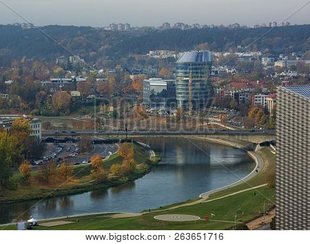 Vilnius, Lithuania - Oct 14, 2018: Panorama Of Vilnius On Sunset With Little Fog. View To Modern Par