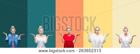 Collage of young beautiful blonde woman over vivid colorful vintage stripes isolated background clueless and confused expression with arms and hands raised. Doubt concept.