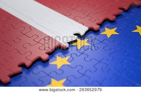 Flag Of The Latvia And The European Union In The Form Of Puzzle Pieces In Concept Of Politics And Ec