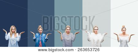Collage of young beautiful blonde woman over vivid colorful vintage green isolated background clueless and confused expression with arms and hands raised. Doubt concept.