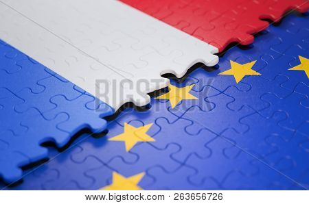 Flag Of The Netherlands And The European Union In The Form Of Puzzle Pieces In Concept Of Politics A