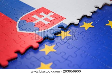 Flag Of The Slovakia And The European Union In The Form Of Puzzle Pieces In Concept Of Politics And