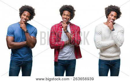 Collage of african american young handsome man over isolated background looking confident at the camera with smile with crossed arms and hand raised on chin. Thinking positive.