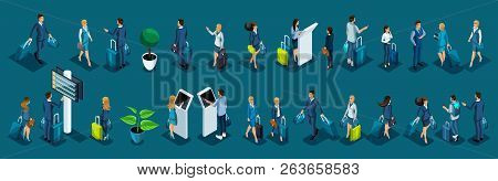 Isometric Large Set Of International Airport Passengers, Business Ladies And Businessmen On A Busine