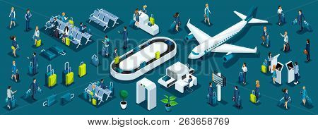 Isometric Large Set Of Passengers With Airport Symbols For Illustrations, Business Ladies And Busine