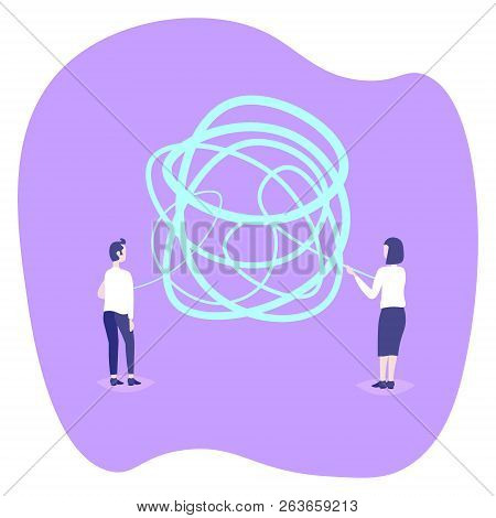 Man Woman Couple Holding Tangled Rope Complicated Difficult Situation Concept People Unraveling Solv
