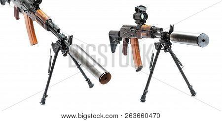 Reflex sight and silencer assigned on AK-47 machinegun poster