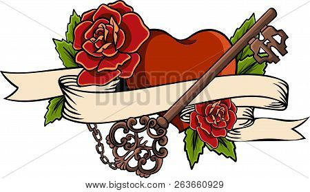 Heart Entwined In Climbing Rose Tattoo. Heart Entwined In Ribbon. Tattoo Heart With Ribbon And Roses