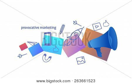Loudspeaker Announcement Provocative Marketing Concept Sketch Doodle Horizontal
