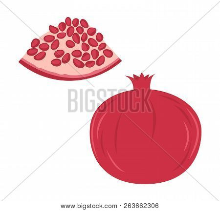 Fresh Red Pomegranate And A Piece. Raw Food Vector Illustration.