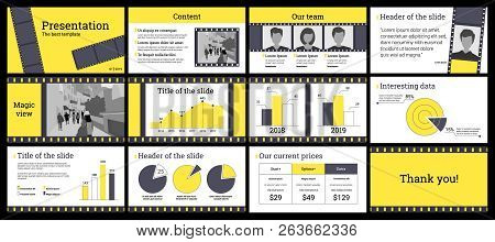 Design Of A Business Presentation Template In Yellow And Grey. Vector Set Of Infographic Elements Fo