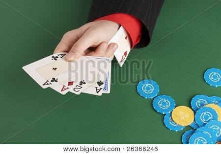 poker player with ace up his sleeve, cheating in poker