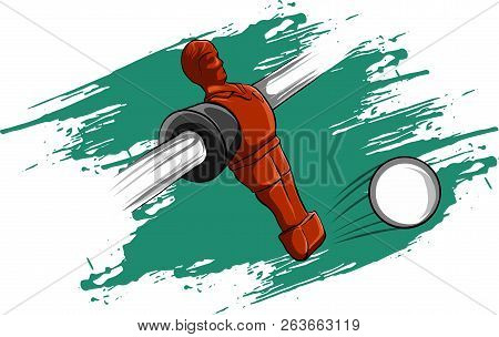 Vector Illustration Red Player Table Football Competition