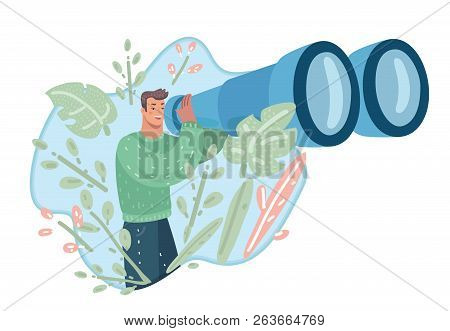 Vision Concept In Business With Guy And Big Binocular. See The Big Picture. Symbol Of Leadership, St