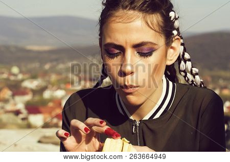 Cute Girl With Long Braids, Stylish Makeup, Eating Vitamin Banana. Wanderlust, Idyllic Vacation. Hea