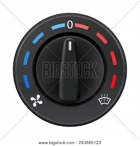 Car Dashboard Knob Switch. Auto Air Conditioner. Temperature Selector. Vector 3d Illustration Isolat