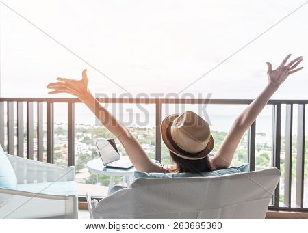 Life Balance And Summer Holiday Vacation Concept With Happy Woman Taking A Break, Celebrating Succes