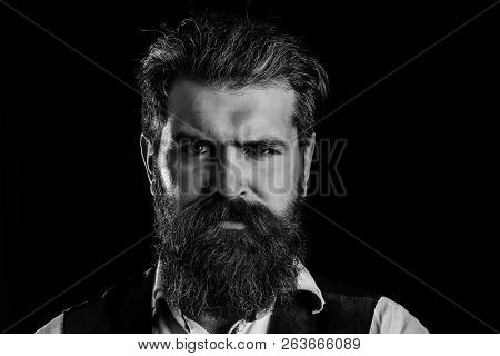 Man With Long Beard, Moustache And Grey Hair. Bearded Hipster With Serious Face And Stylish Haircut