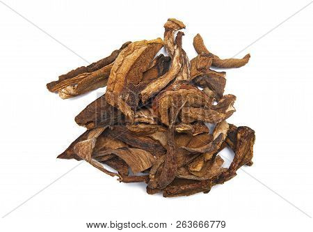 Dried Porcini Mushrooms Isolated On White Background