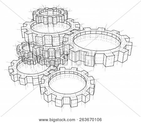 3d Gears. Vector Rendering Of 3d. Wire-frame Style. The Layers Of Visible And Invisible Lines Are Se