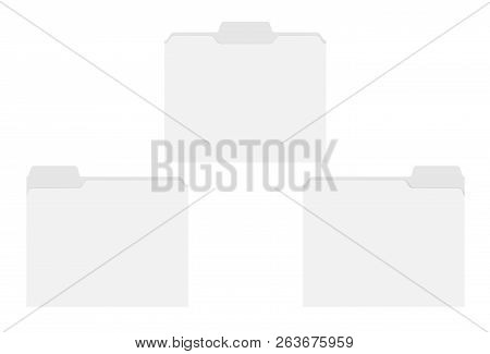 Letter Size Blank File Folders With Assorted Position Cut Tabs Isolated On White Background, Templat