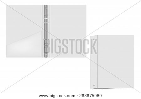 Ring Binder With Interior Pocket, Vector Mockup. Open And Closed Gray Folder With Metal Rings Isolat