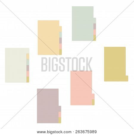Colored Sheets With Tab Dividers Notebook, Realistic Vector Mockup. Sticky Note Notepad With Variega
