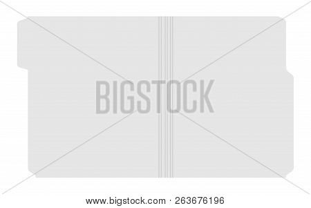 Open File Folder With Cut Tab Isolated On White Background, Template. Empty Document Case Top View,