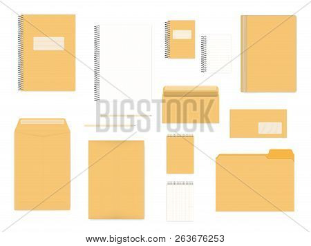 Blank Office Stationery Isolated On White Background, Mock Up Set. A4, A6, Dl Sizes. Corporate Ident