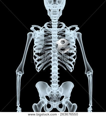 Skeleton X-ray Displaying Soccer Ball Instead Heart. Isolated 3d Illustration On A Black Background