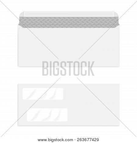 Blank Double Window Self Seal Check Envelope With Security Pattern Isolated On White Background, Vec