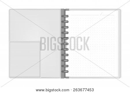 Open Discbound Letter Size Notebook With Interior Pocket Top View, Vector Mock Up. Gray Leather Disc
