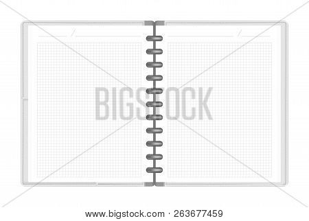 Open Discbound Loose Leaf Notebook With Interior Pocket Top View, Vector Mock Up. Gray Disc Bound Bu