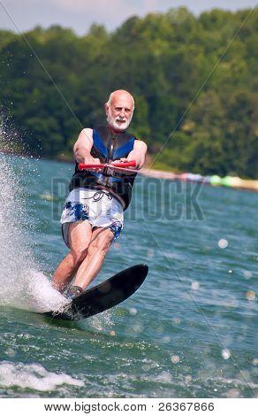 Senior waterskis