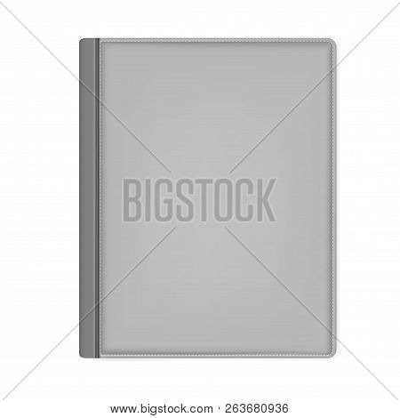 Hardcover Notebook Top View, Vector Mock Up. Gray Leather Bound Journal Isolated On White Background