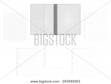 Open Letter Size Disc Bound Notebook Folder With Set Of Various Ruled Hole Punched Filler Paper Shee
