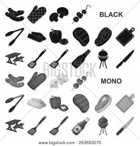 Barbecue And Equipment Black Icons In Set Collection For Design. Picnic And Fried Food Vector Symbol