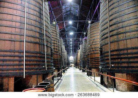 Thuir, France - September 5, 2018: Inside The Cellars Of The Byrrh Company In Thuir Which Makes Its