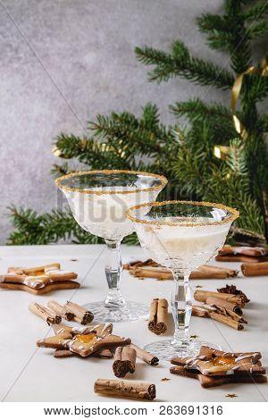 Eggnog Christmas Milk Cocktail, Served In Two Vintage Crystal Glasses With Shortbread Star Shape Sug