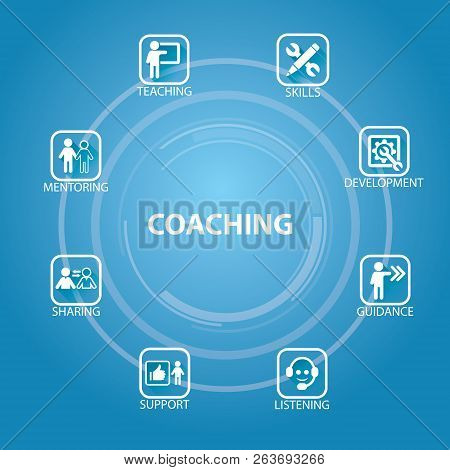 Business Coaching Leadership Mentoring Concept. Vector Illustration