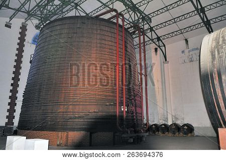 Thuir, France - September 5, 2018: The Largest Oak Vat In The World Containing One Million Two Hundr